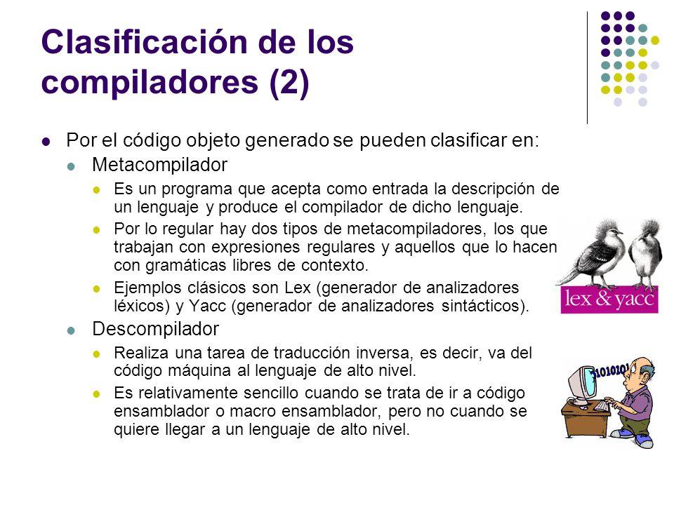 Clasificación de los compiladores (2)