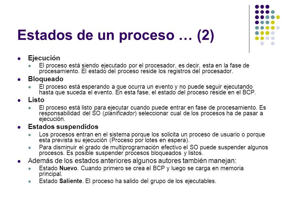 Estados de un proceso … (2)