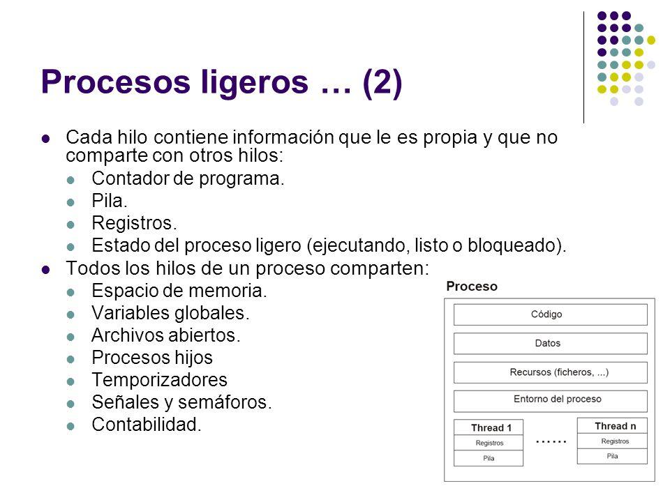 Procesos ligeros … (2) Cada hilo contiene información que le es propia y que no comparte con otros hilos: