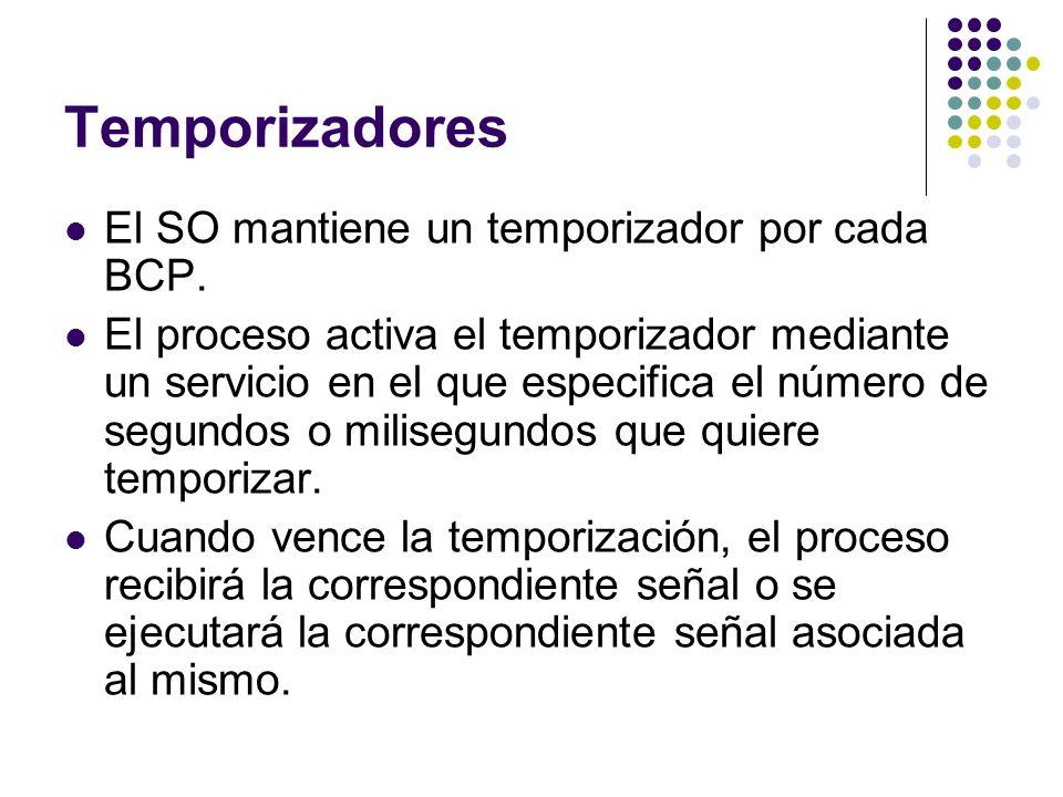 Temporizadores El SO mantiene un temporizador por cada BCP.