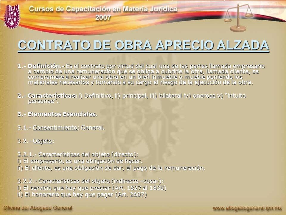 CONTRATO DE OBRA APRECIO ALZADA
