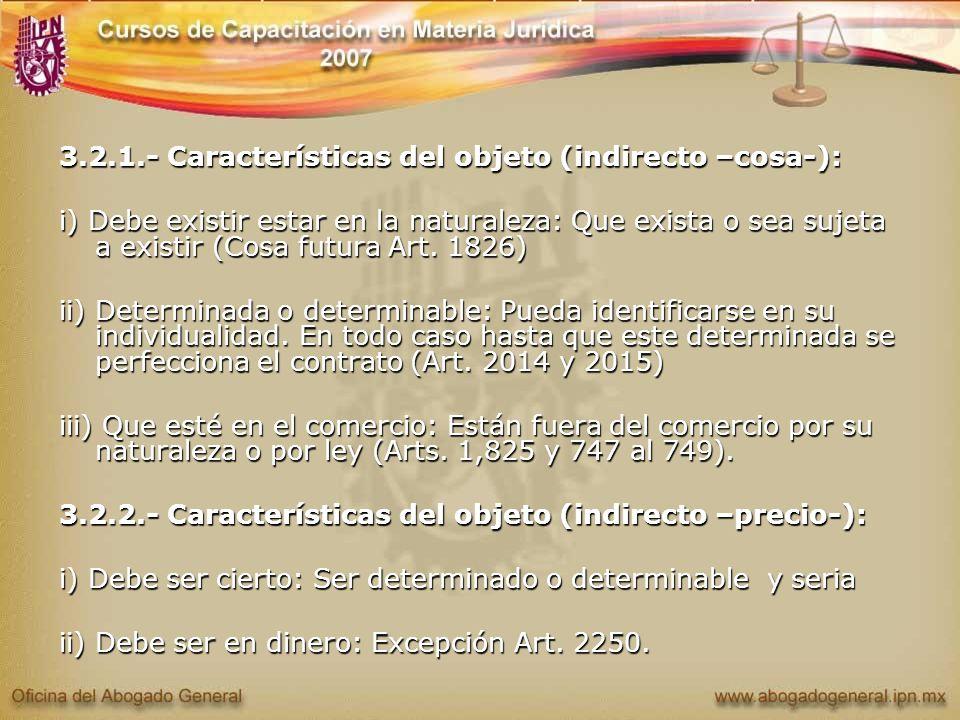 3.2.1.- Características del objeto (indirecto –cosa-):