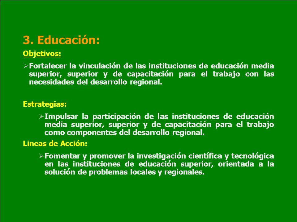 3. Educación: Objetivos: