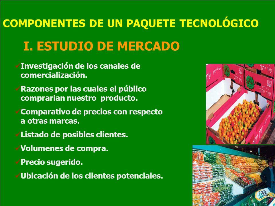 I. ESTUDIO DE MERCADO COMPONENTES DE UN PAQUETE TECNOLÓGICO