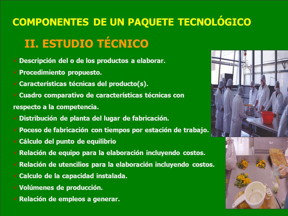 II. ESTUDIO TÉCNICO COMPONENTES DE UN PAQUETE TECNOLÓGICO
