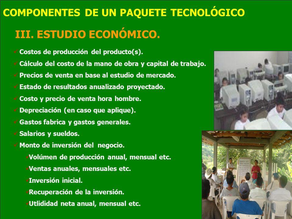 III. ESTUDIO ECONÓMICO. COMPONENTES DE UN PAQUETE TECNOLÓGICO