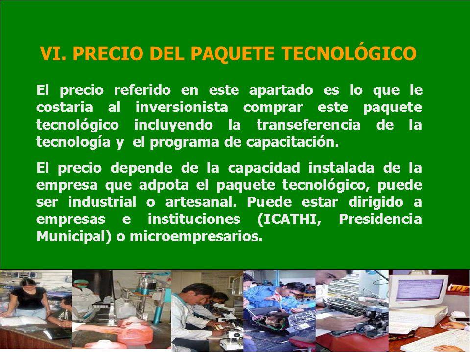 VI. PRECIO DEL PAQUETE TECNOLÓGICO