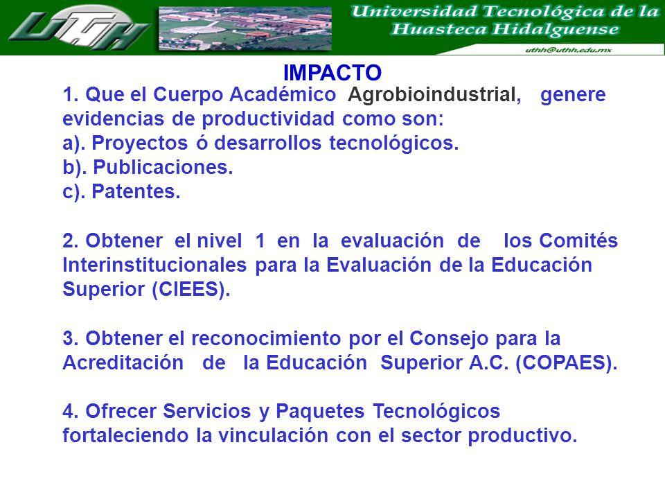 IMPACTO 1. Que el Cuerpo Académico Agrobioindustrial, genere evidencias de productividad como son: