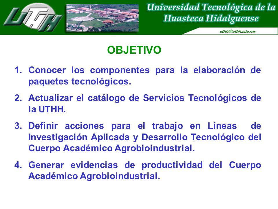 OBJETIVO Conocer los componentes para la elaboración de paquetes tecnológicos. Actualizar el catálogo de Servicios Tecnológicos de la UTHH.