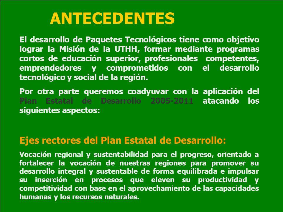 ANTECEDENTES Ejes rectores del Plan Estatal de Desarrollo: