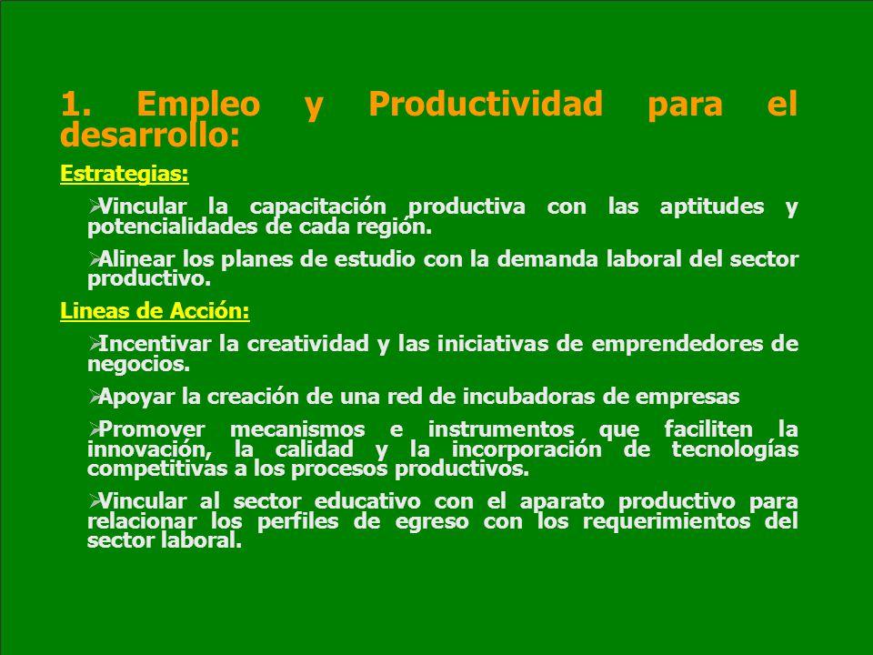 1. Empleo y Productividad para el desarrollo: