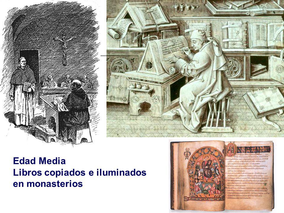 Edad Media Libros copiados e iluminados en monasterios