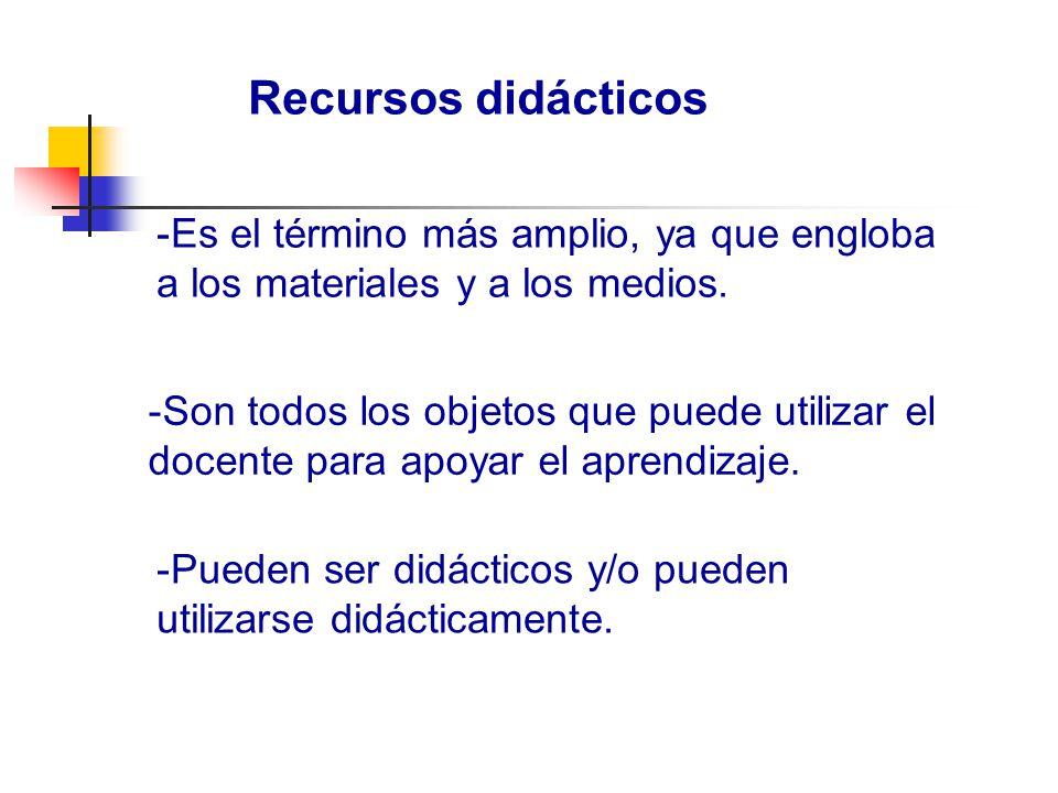 Recursos didácticos Es el término más amplio, ya que engloba a los materiales y a los medios.