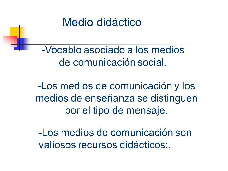 Medio didáctico Vocablo asociado a los medios de comunicación social.