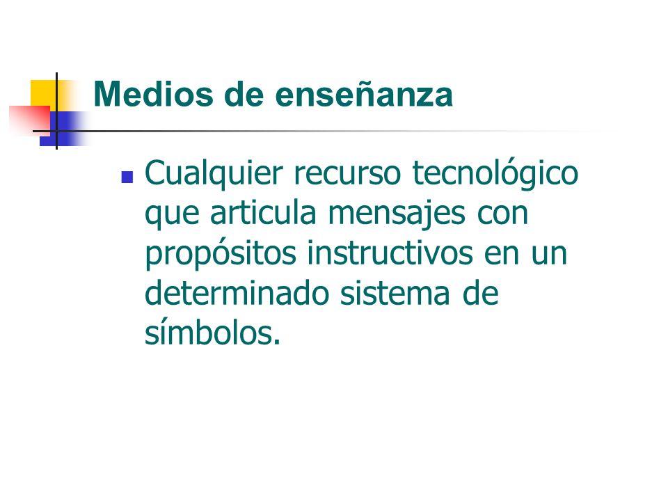 Medios de enseñanza Cualquier recurso tecnológico que articula mensajes con propósitos instructivos en un determinado sistema de símbolos.