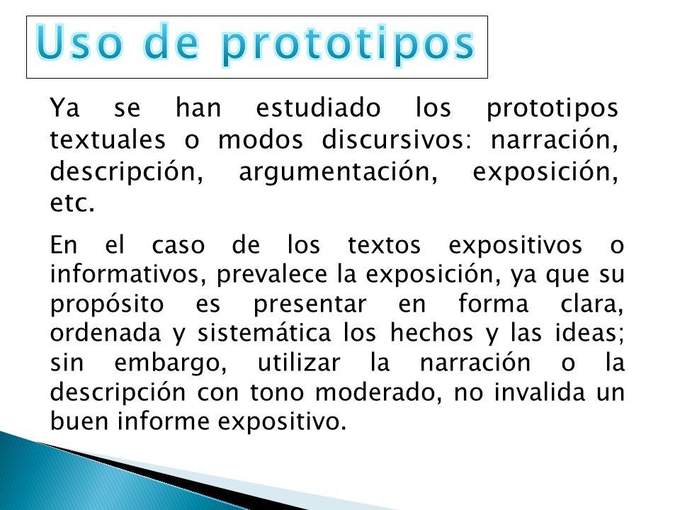 Uso de prototipos Ya se han estudiado los prototipos textuales o modos discursivos: narración, descripción, argumentación, exposición, etc.