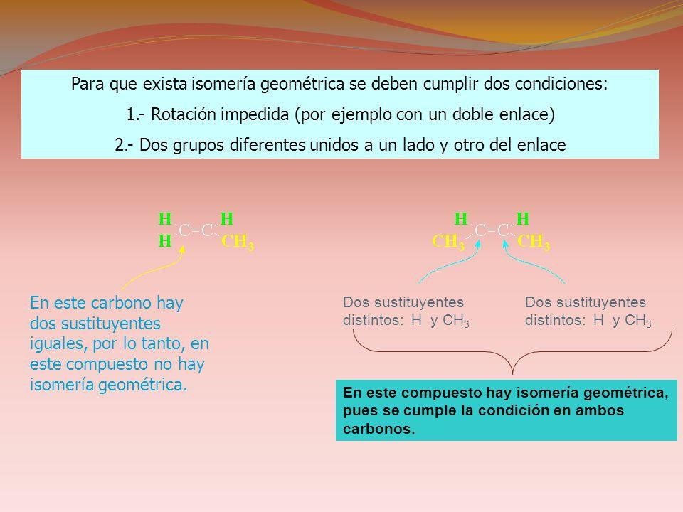 Para que exista isomería geométrica se deben cumplir dos condiciones: