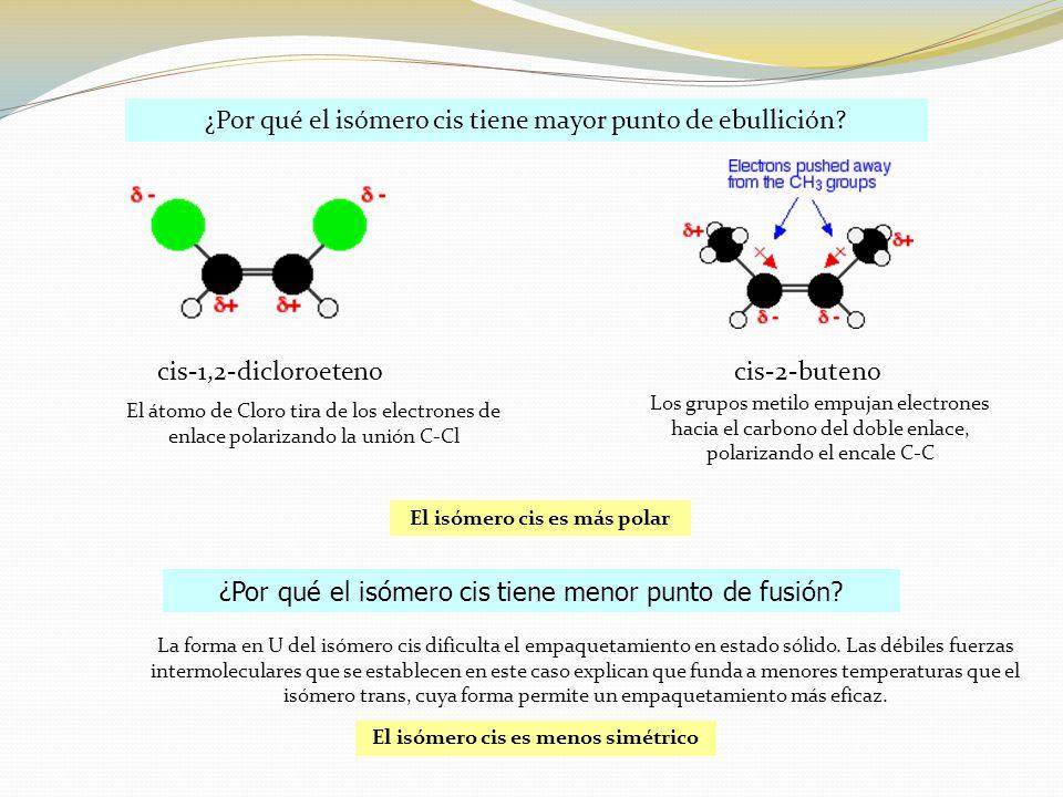 El isómero cis es más polar El isómero cis es menos simétrico