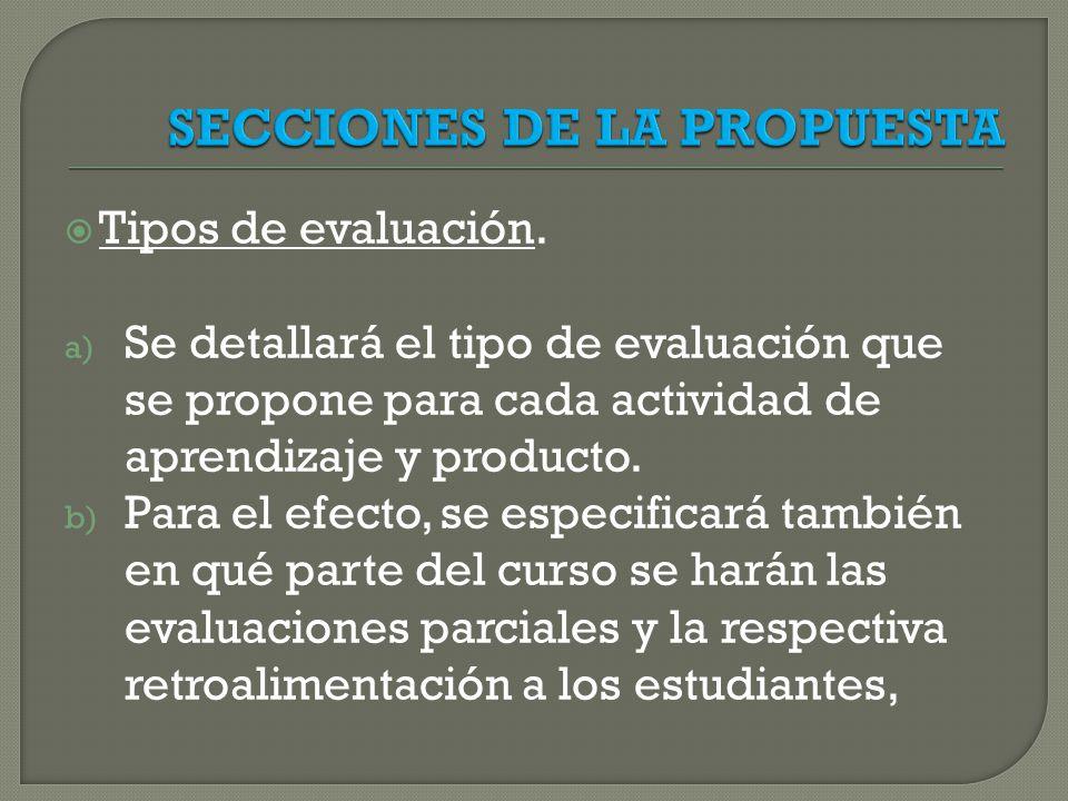 SECCIONES DE LA PROPUESTA