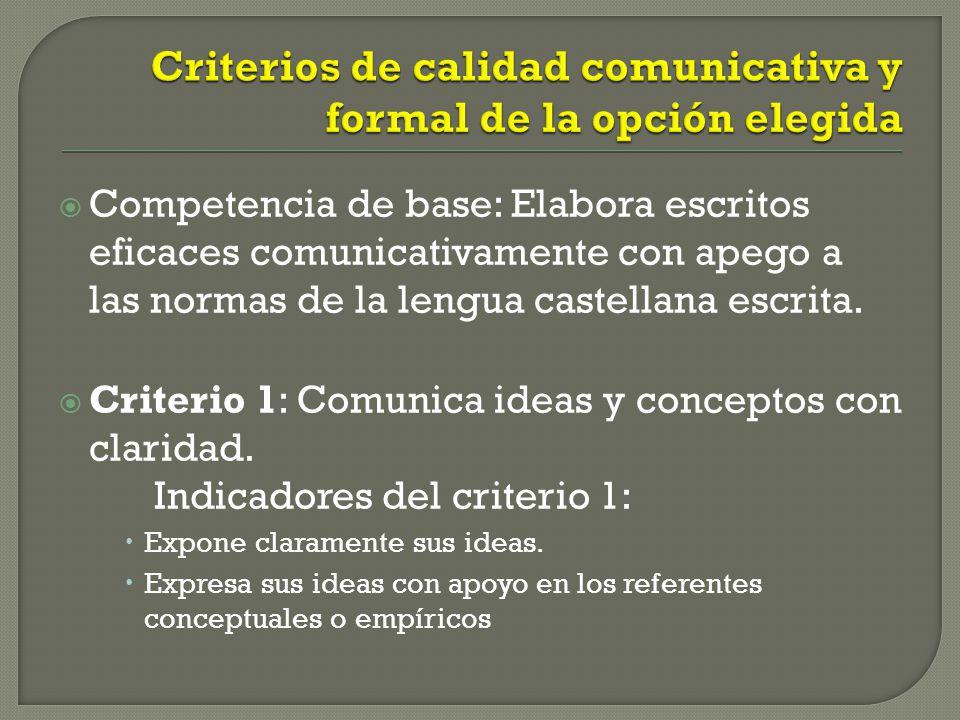 Criterios de calidad comunicativa y formal de la opción elegida