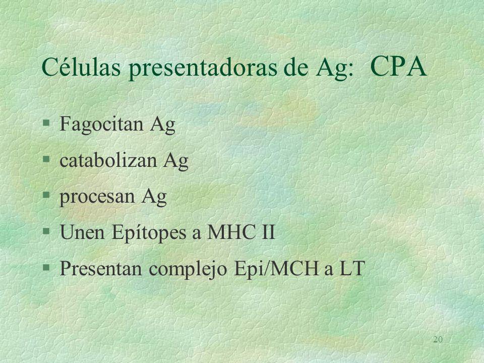 Células presentadoras de Ag: CPA