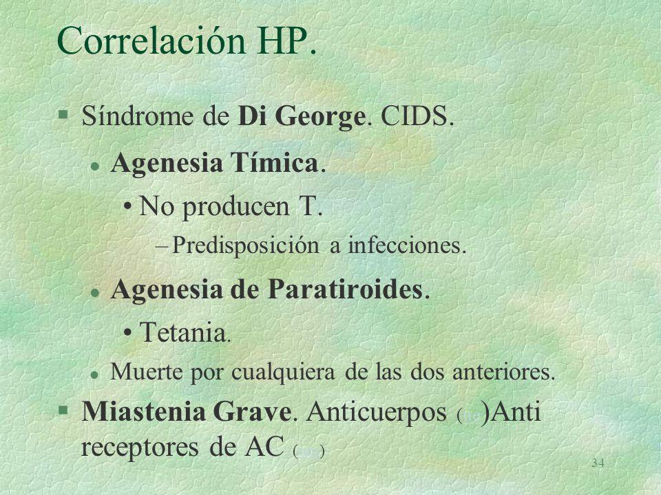 Correlación HP. Síndrome de Di George. CIDS. Agenesia Tímica.