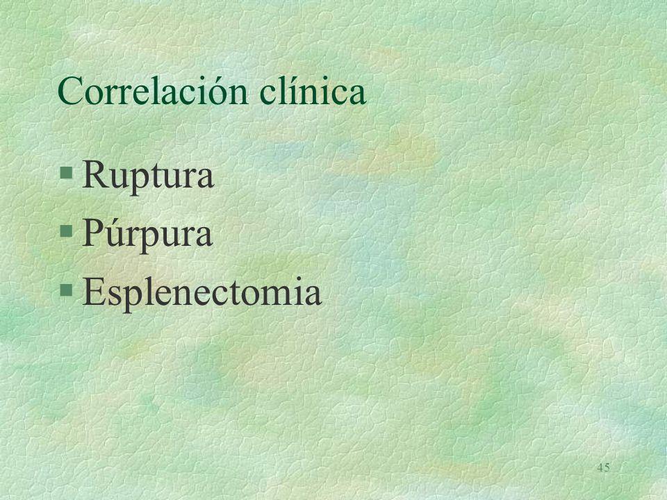 Correlación clínica Ruptura Púrpura Esplenectomia