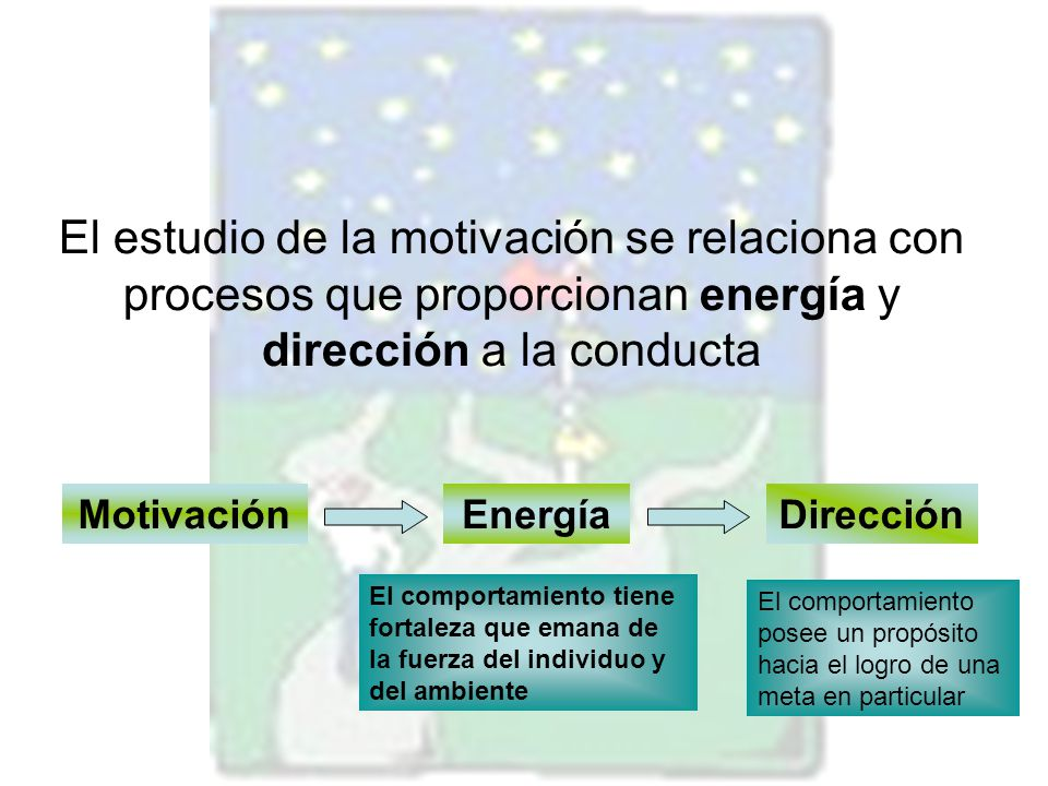 El estudio de la motivación se relaciona con procesos que proporcionan energía y dirección a la conducta