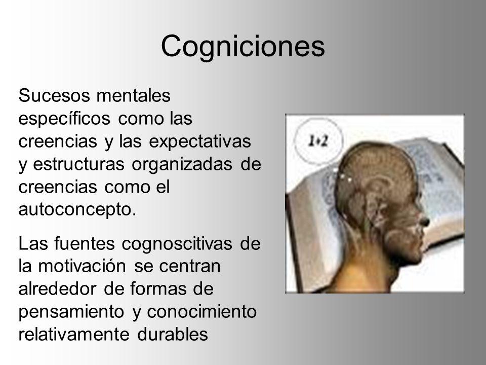 Cogniciones Sucesos mentales específicos como las creencias y las expectativas y estructuras organizadas de creencias como el autoconcepto.