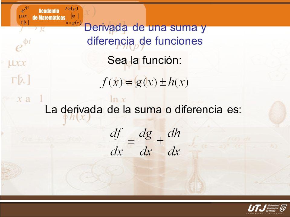 Derivada de una suma y diferencia de funciones