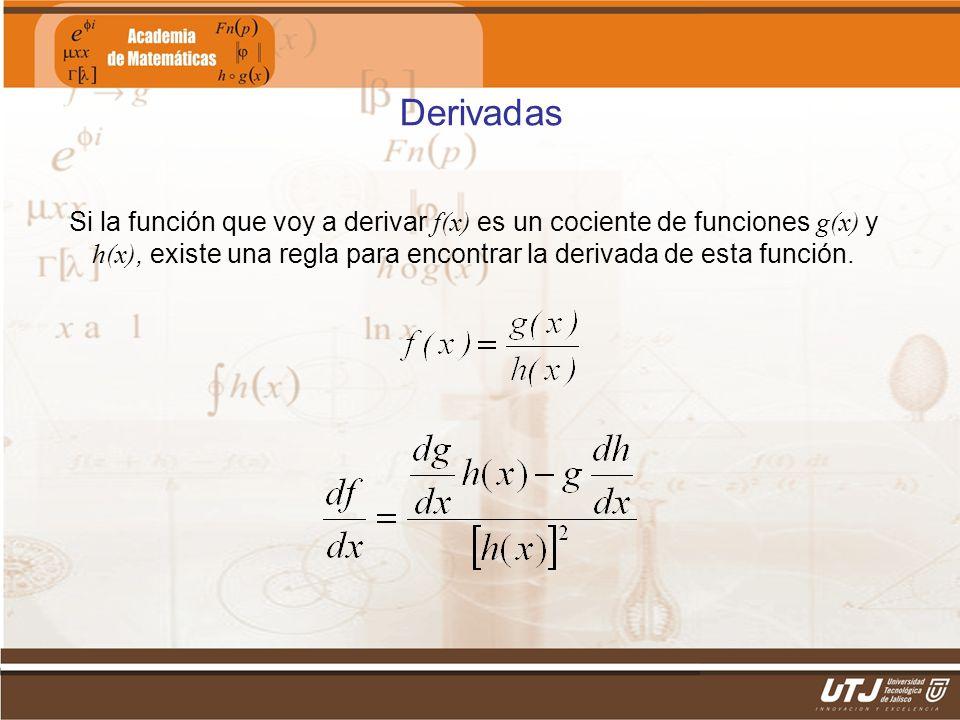 Derivadas Si la función que voy a derivar f(x) es un cociente de funciones g(x) y h(x), existe una regla para encontrar la derivada de esta función.