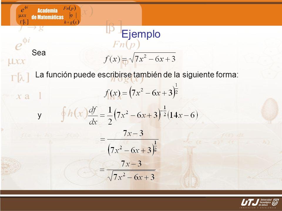 Ejemplo Sea La función puede escribirse también de la siguiente forma: