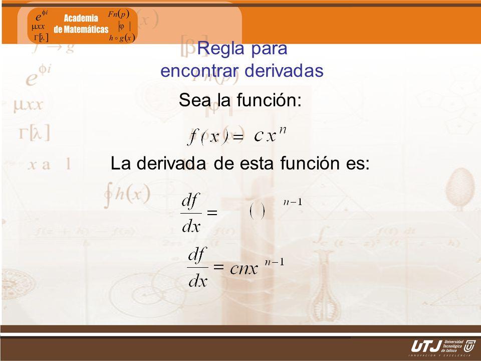 Regla para encontrar derivadas