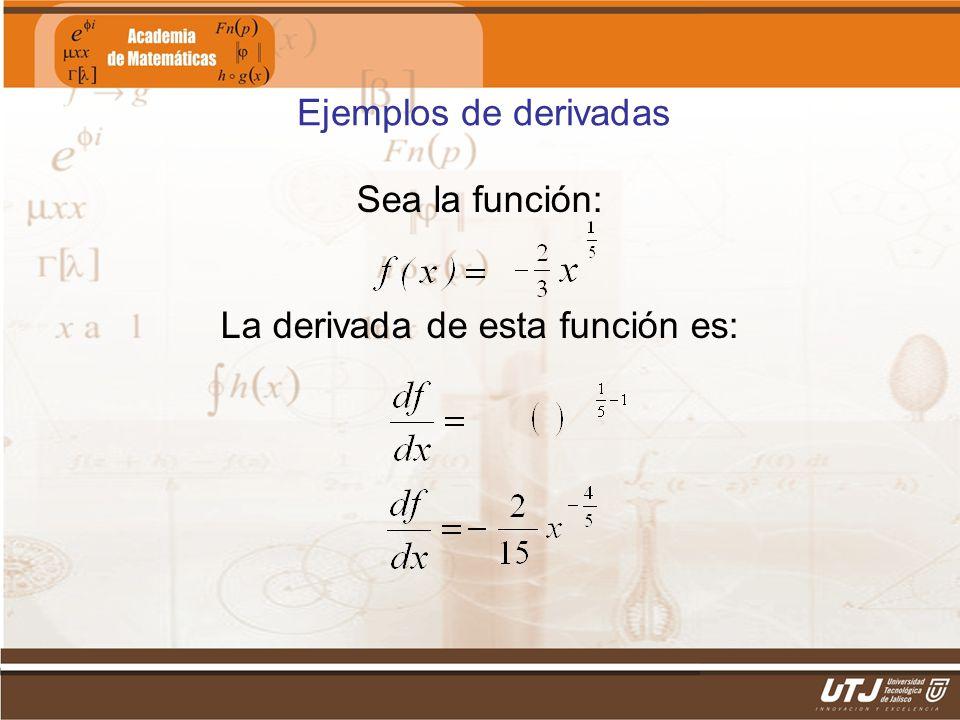 La derivada de esta función es: