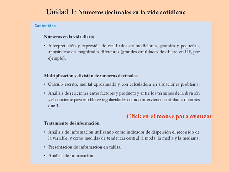 Unidad 1: Números decimales en la vida cotidiana