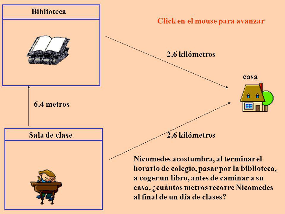 Biblioteca Click en el mouse para avanzar. 2,6 kilómetros. casa. 6,4 metros. Sala de clase. 2,6 kilómetros.