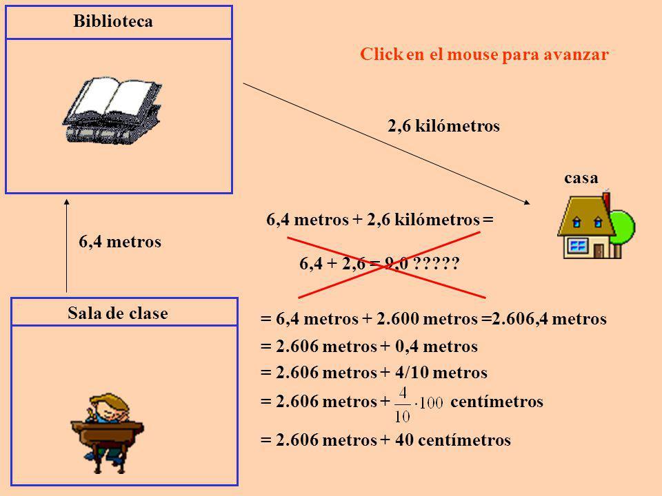 Sala de clase Biblioteca. 6,4 metros. Click en el mouse para avanzar. 2,6 kilómetros. casa. 6,4 metros + 2,6 kilómetros =