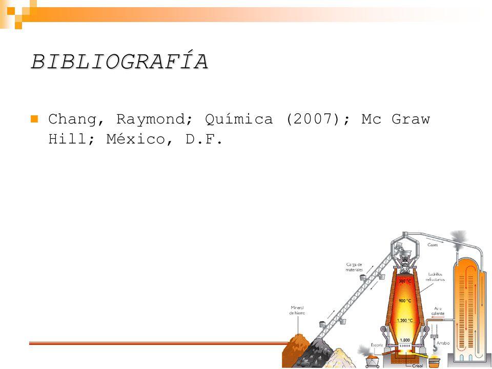 BIBLIOGRAFÍA Chang, Raymond; Química (2007); Mc Graw Hill; México, D.F.