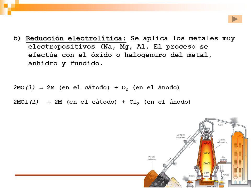 b) Reducción electrolítica: Se aplica los metales muy electropositivos (Na, Mg, Al. El proceso se efectúa con el óxido o halogenuro del metal, anhidro y fundido.