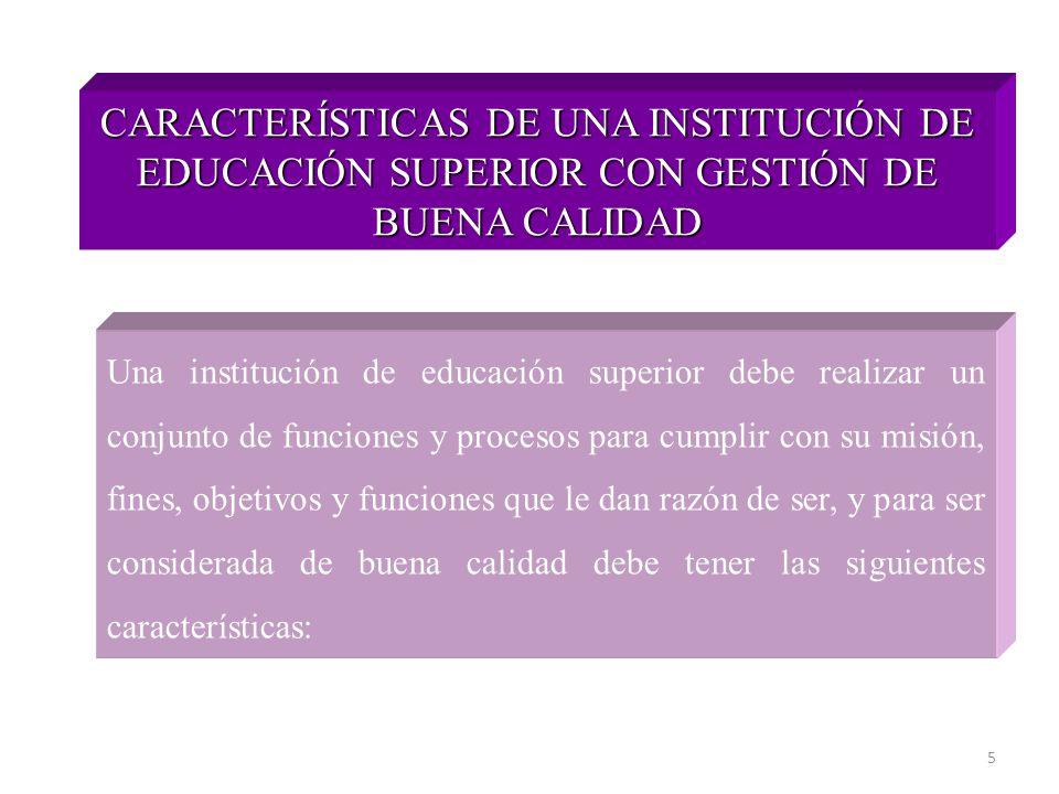 CARACTERÍSTICAS DE UNA INSTITUCIÓN DE EDUCACIÓN SUPERIOR CON GESTIÓN DE BUENA CALIDAD