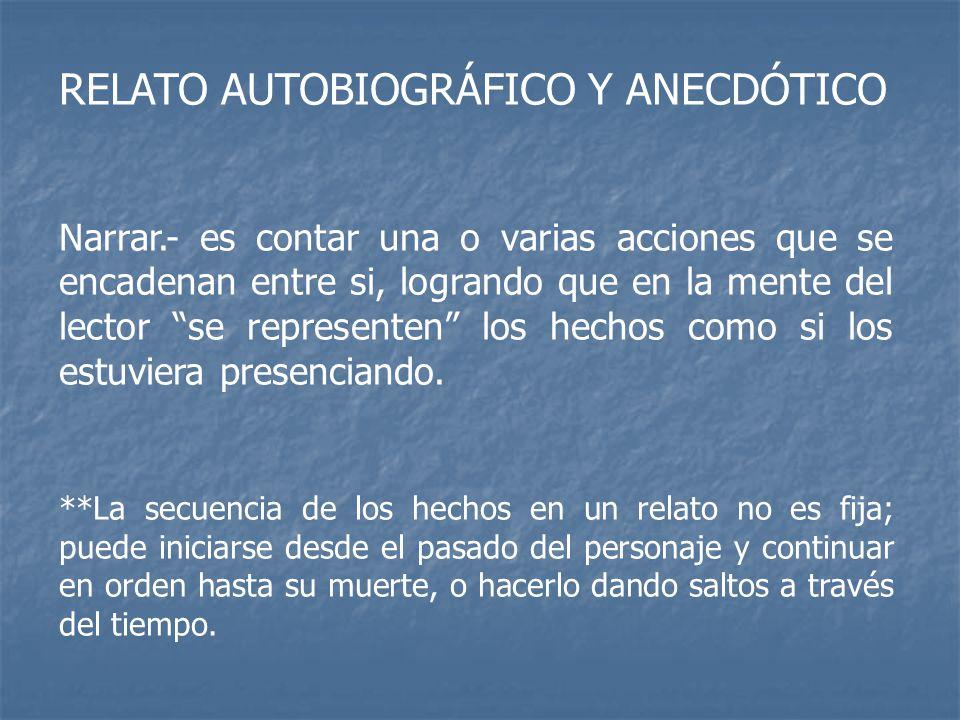 RELATO AUTOBIOGRÁFICO Y ANECDÓTICO