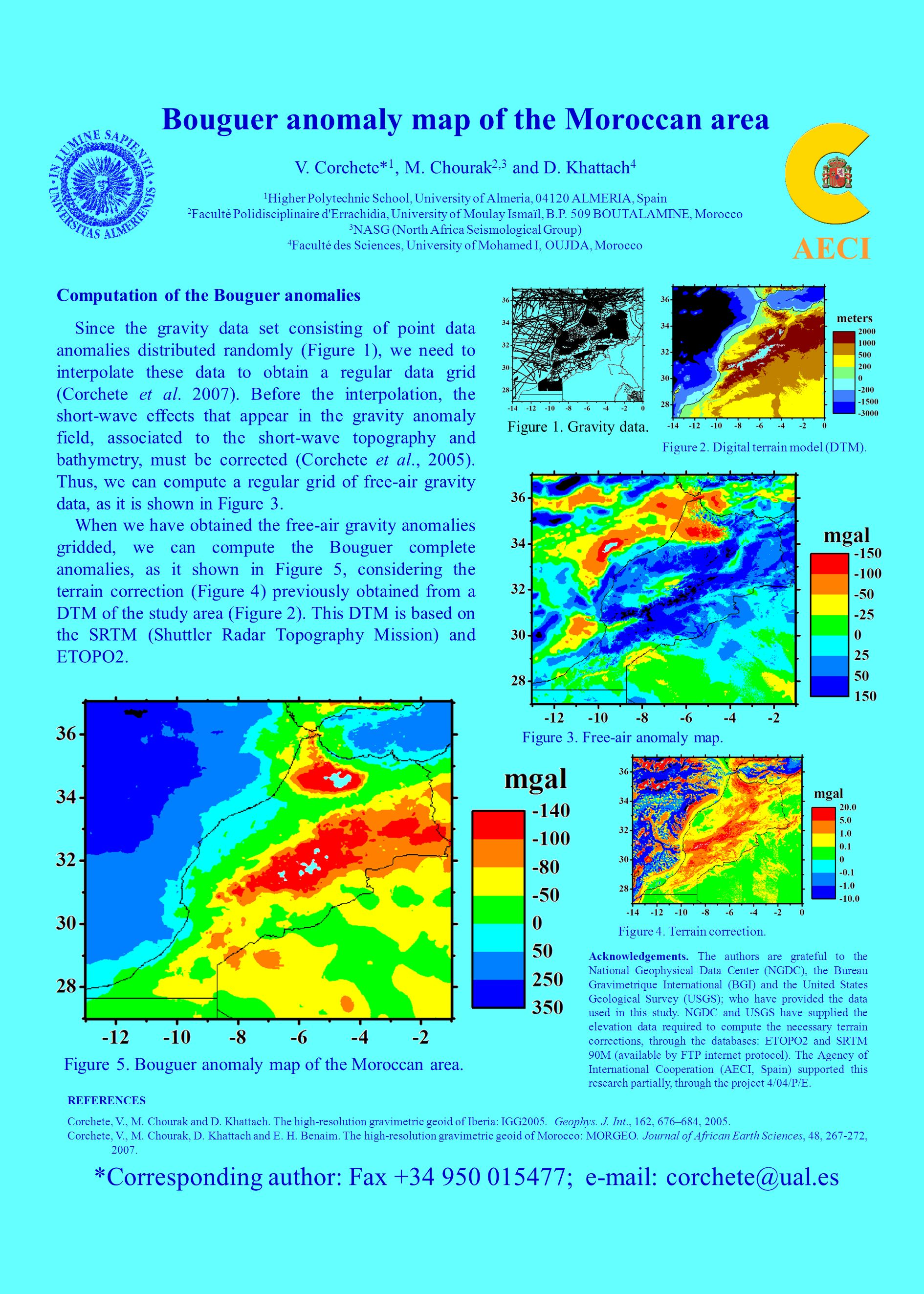 Bouguer anomaly map of the Moroccan area