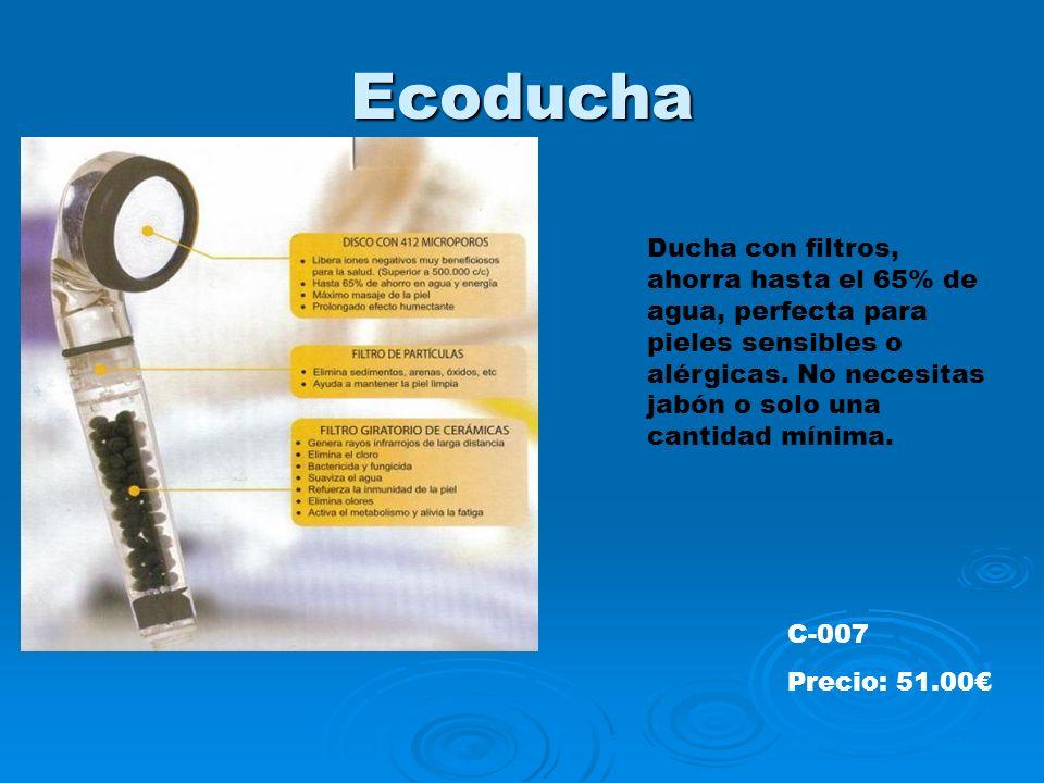 EcoduchaDucha con filtros, ahorra hasta el 65% de agua, perfecta para pieles sensibles o alérgicas. No necesitas jabón o solo una cantidad mínima.