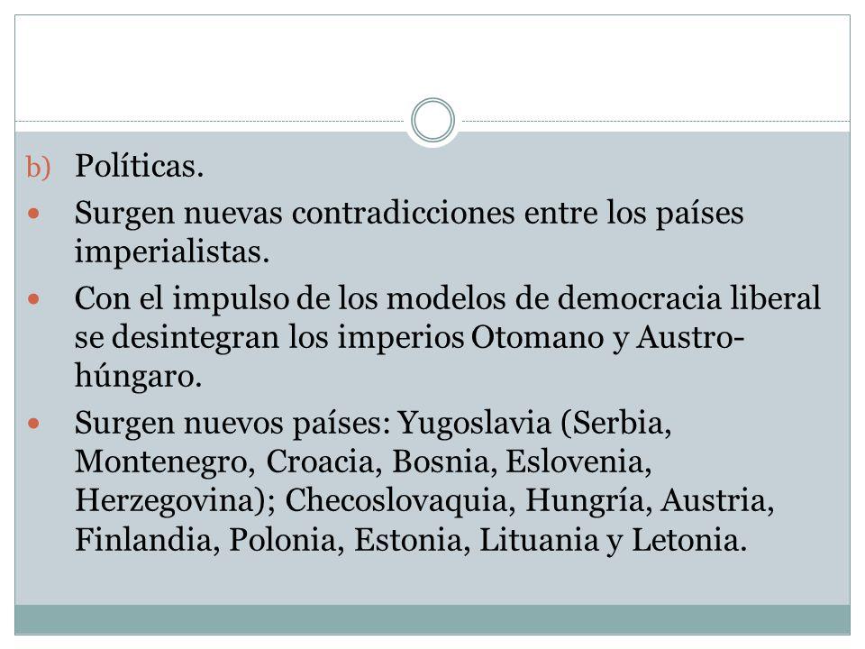 Políticas. Surgen nuevas contradicciones entre los países imperialistas.