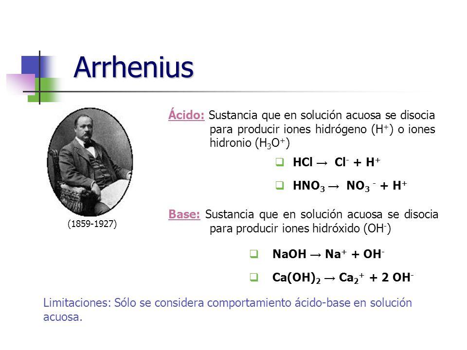 Arrhenius (1859-1927) Ácido: Sustancia que en solución acuosa se disocia para producir iones hidrógeno (H+) o iones hidronio (H3O+)
