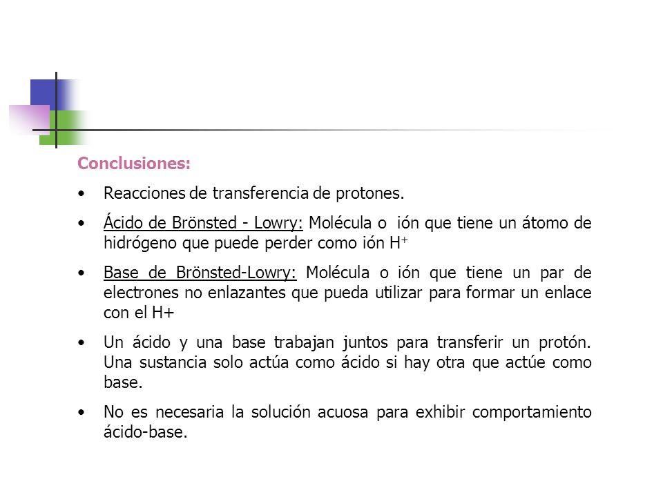 Conclusiones: Reacciones de transferencia de protones.