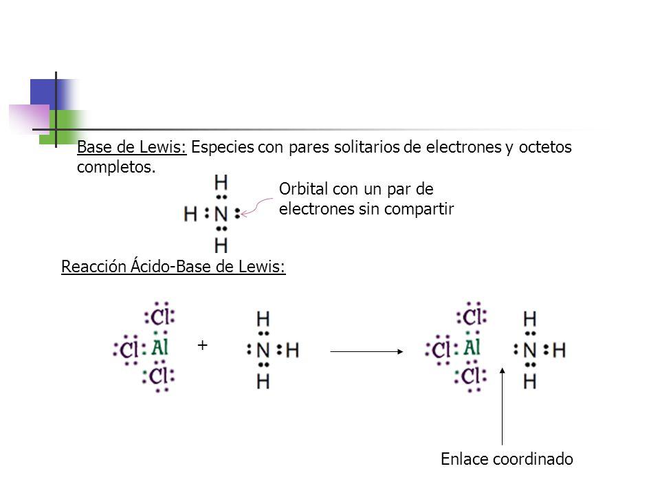 Base de Lewis: Especies con pares solitarios de electrones y octetos completos.