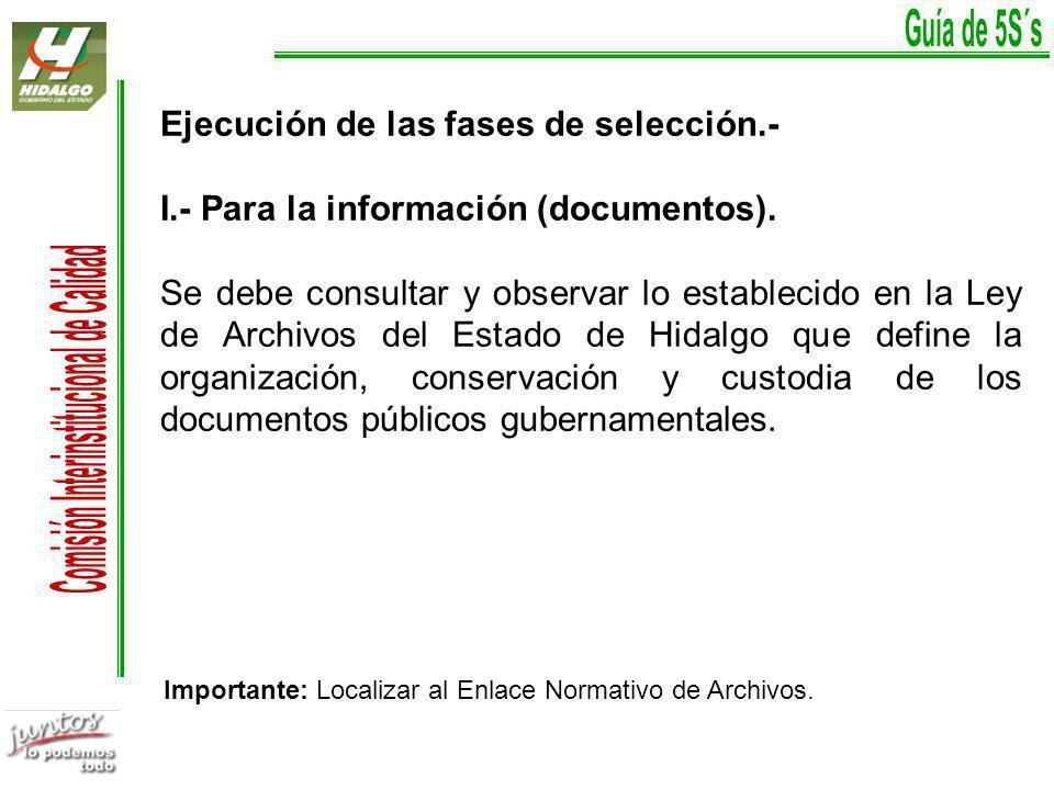 Ejecución de las fases de selección.-