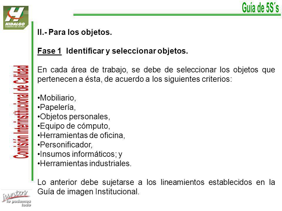 Fase 1 Identificar y seleccionar objetos.