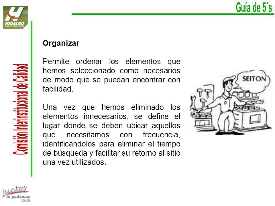 Guía de 5´s Organizar. Permite ordenar los elementos que hemos seleccionado como necesarios de modo que se puedan encontrar con facilidad.